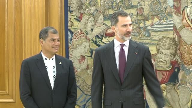 King Felipe VI of Spain receives Ecuador President Rafael Correa at Zarzuela Palace