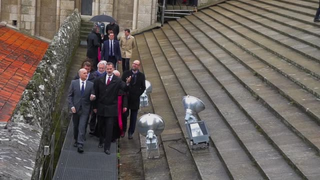 King Felipe visits Santiago de Compostela's cathedral after the completion of the restauration
