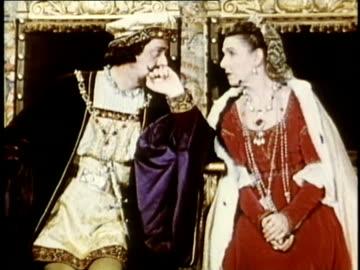 stockvideo's en b-roll-footage met 1948 reenactment ms king ferdinand and queen isabella sitting on their thrones / audio - fluisteren