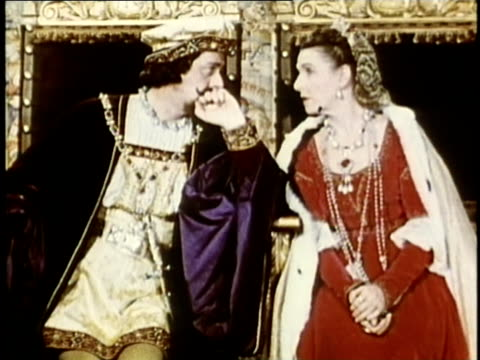 1948 REENACTMENT MS King Ferdinand and Queen Isabella sitting on their thrones / AUDIO