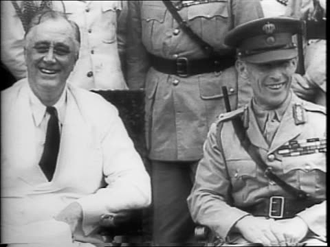 king george ii of greece gets out of a car at the white house / a group of american soldiers stand at attention with the washington monument in the... - cordell hull stock videos and b-roll footage