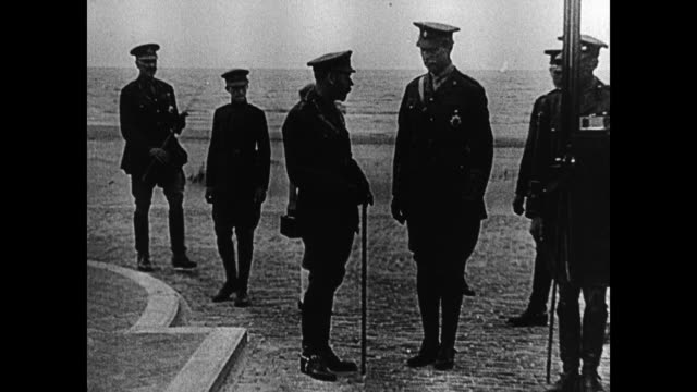 king george v of the united kingdom walking w/ king albert i of belgium on beach w/ other officials, england. king albert i standing w/ crown prince... - 1914 stock videos & royalty-free footage