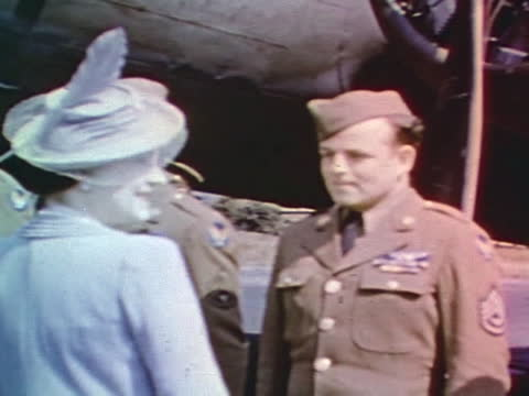 king george vi and his wife elizabeth bowes-lyon visiting military airdrome and talking to pilots - 1944 stock videos & royalty-free footage