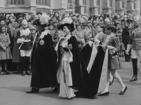 king george vi and queen elizabeth take part in the annual service of the order of the garter at windsor castle - queen dowager bildbanksvideor och videomaterial från bakom kulisserna