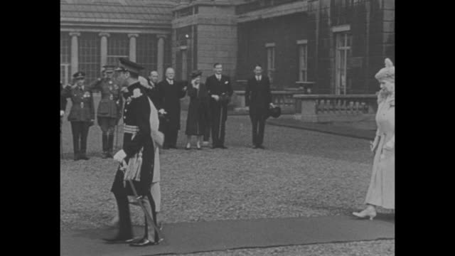king george vi and royal family photo op after coronation with mother wife daughters two brothers henry and george and their wives sister mary and... - coronation stock videos & royalty-free footage