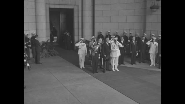 ws king george vi and us president franklin roosevelt stand at attention as vo us national anthem plays upon royals' arrival in washington dc king... - blanket background stock videos & royalty-free footage
