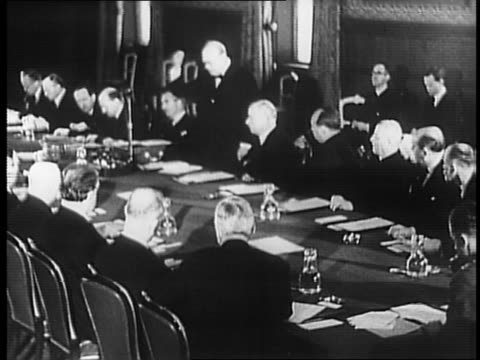 king george vi and winston churchill walking around conference table with officials / close up of churchill and king george walking / churchill... - speech stock videos & royalty-free footage