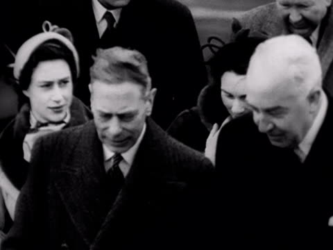 King George VI Princess Margaret and Princess Alice at London Aiport after seeing off Princess Elizabeth on her tour of the Commonwealth 1952