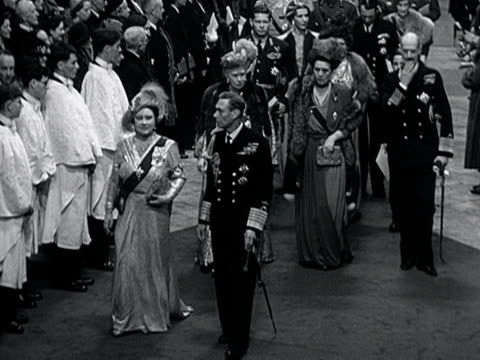 king george vi queen elizabeth queen mary and other royal dignitaries walk down the aisle of westminster abbey at the conclusion of the wedding of... - 1947 stock videos & royalty-free footage