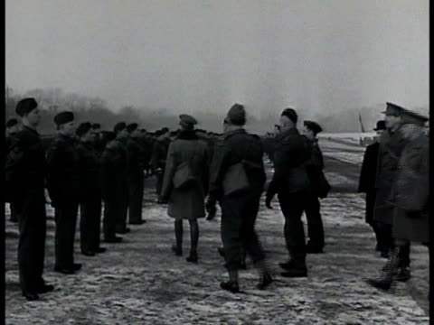 king george vi reviewing canadian troops walking w/ officers stopping to talk w/ front line soldier. - narrating stock videos & royalty-free footage