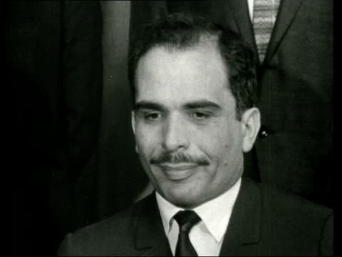 King Hussein of Jordan arrives at London Airport CS KING HUSSEIN INSIDE OTHERS IN B/GSOF It is not a question of accepting Israel's right to exits...