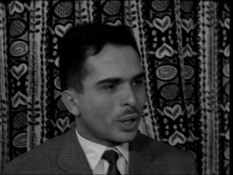king hussein of jordan interviewed; england: london: int king hussein of jordan interview sof - 1950 1959 stock videos & royalty-free footage
