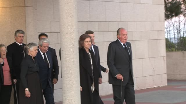King Juan Carlos and Queen Sofia attend a funeral chapel for Alicia de Borbon Parma Duchess of Calabria at La Paz morgue