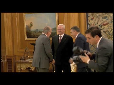 King Juan Carlos of Spain Meets Martin Winterkorn at Zarzuela Palace