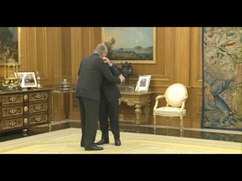 King Juan Carlos of Spain Meets Nicolas Sarkozy at Zarzuela Palace