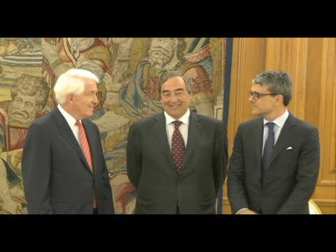 King Juan Carlos of Spain Receives Sr Thomas J Donohue At The Zarzuela Palace