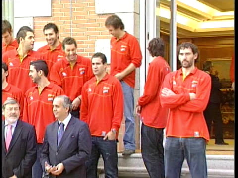 King Juan Carlos Queen Sofia Prince Felipe and Princess Letizia of Spain receive Spanish Basketball Team after becoming 2009 Eurobasket Champion at...