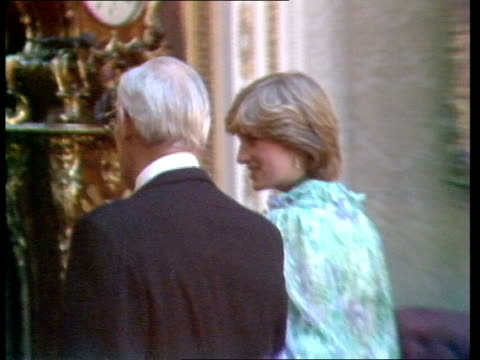 stockvideo's en b-roll-footage met king khalid arrives at buckingham palace cms denis thatcher and lady diana followed by prince and princess michael of kent to bv itn 44secs