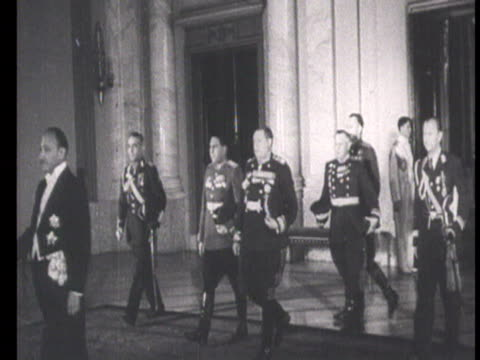 king michael i order of victory by marshal of soviet union tolbukhin, shaking hands with soviet officers and other representatives / romania, audio - romania stock videos & royalty-free footage