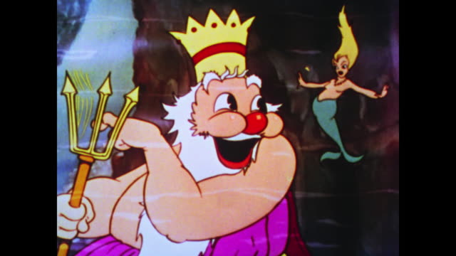 King Neptune sits happily under the sea watching a mermaid dance