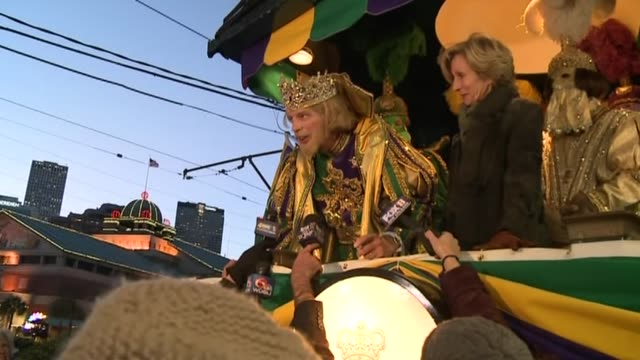 wgno king of mardi gras parade of krewe of rex explains rex exits train in new orleans louisiana on february 8 2016 - parade of krewe of rex stock videos & royalty-free footage