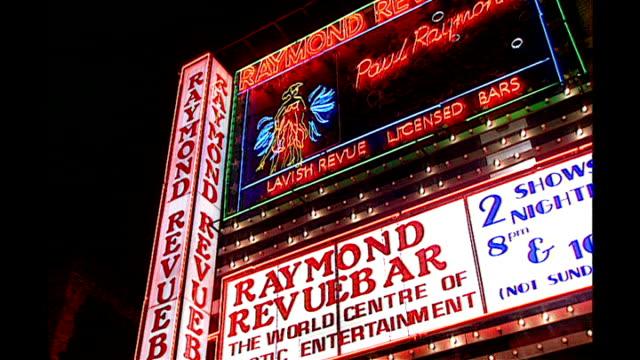 'King of Soho' Paul Raymond dies age 82 1993 Exterior of Raymond Revuebar Sign 'XXX Mags'