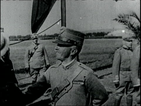 King Victor Emanuel of Italy reviews American and Italian troops at an aviation field King Victor Emanuel reviews troops on June 01 1918 in Italy