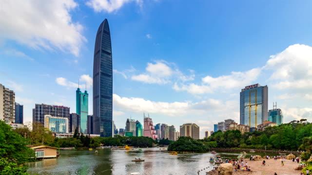vídeos de stock, filmes e b-roll de skyline de kingkey 100 cbd / shenzhen, china - boia equipamento marítimo de segurança