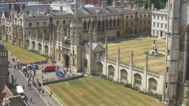 kings college entrance. elevated view. - king's college cambridge stock videos & royalty-free footage