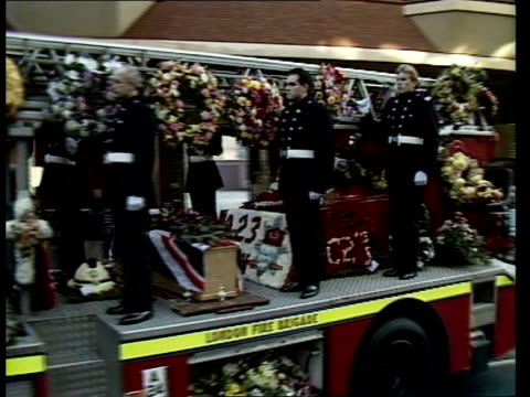 colin townsley funeral; b) england: central london: red watch firemen lining pavement outside soho fire station r-l r-l more cms fireman r-l past... - b rolle stock-videos und b-roll-filmmaterial