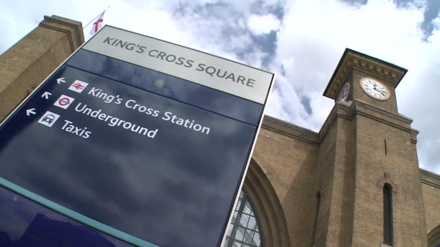 king's cross station in london - clock tower stock videos & royalty-free footage