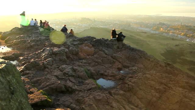 Kings seat Edinburgh Scotland sunset top wide