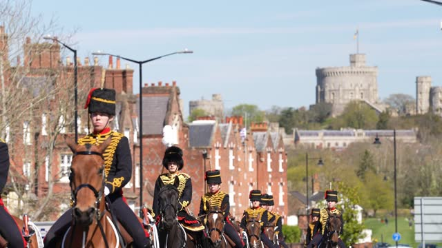king's troop royal horse artillery during the funeral of prince philip, duke of edinburgh on april 17, 2021 in windsor, england. prince philip of... - funeral stock videos & royalty-free footage