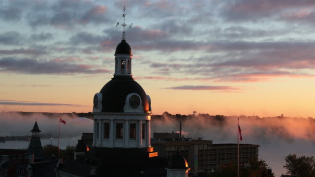 kingston city hall, ontario, canada at sunrise - ontario canada stock videos and b-roll footage