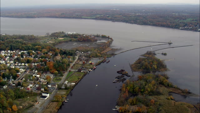 kingston waterfront - aerial view - new york,  ulster county,  united states - ulster county stock videos & royalty-free footage