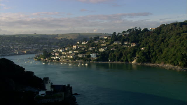 kingswear and castle - aerial view - england, devon, south hams district, united kingdom - devon stock videos & royalty-free footage