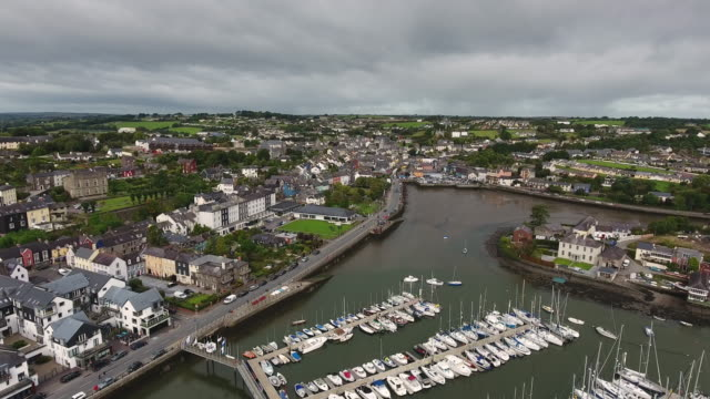 kinsale town in co cork ireland aerial view - county cork stock videos & royalty-free footage