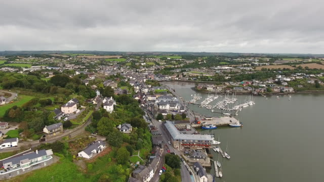 kinsale town in co cork ireland aerial view - republic of ireland stock videos & royalty-free footage