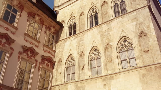 kinský palace and stone bell house in prague old town square - stare mesto stock videos & royalty-free footage
