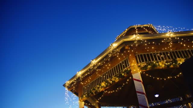 Kiosk with Christmas decoration and lights