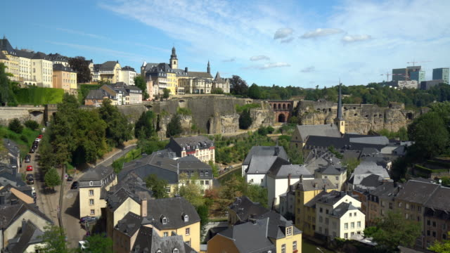 kirchberg luxembourg, panning - luxembourg benelux stock videos & royalty-free footage