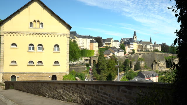 kirchberg luxembourg with old house - luxembourg benelux stock videos & royalty-free footage