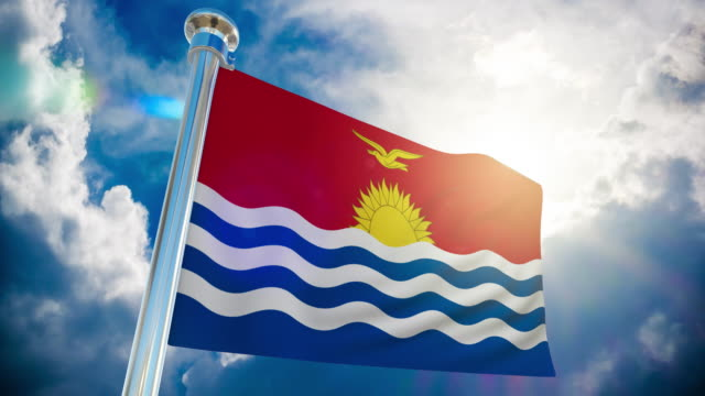 4k - kiribati flag   loopable stock video - oceania stock videos & royalty-free footage