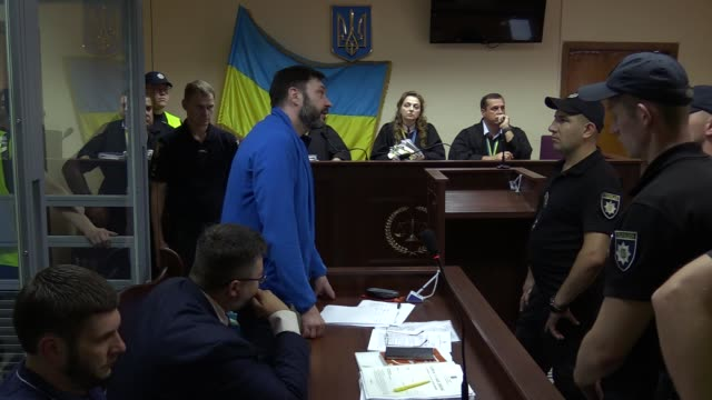 kirill vyshinsky director of the ukrainian office of the russian state news agency ria novosti who was detained on treason charges in kiev in 2018... - court hearing stock videos and b-roll footage