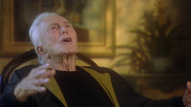kirk douglas speaking in 2003 as an elderly man about not receiving praise from his father in person only secondhand now when i was not around i... - infarction stock videos and b-roll footage
