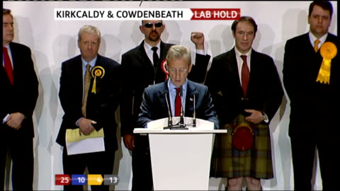 kirkcaldy & cowdenbeath: kirkcaldy & cowdenbeath declaration - gordon brown victory - labour hold gordon brown speech sot - thanks other candidates,... - politics and government stock videos & royalty-free footage