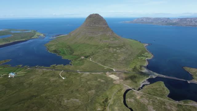 kirkjufell aerial view. iceland - volcanic terrain stock videos & royalty-free footage