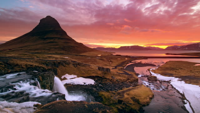 kirkjufell iceland at sunrise - dramatic landscape stock videos & royalty-free footage