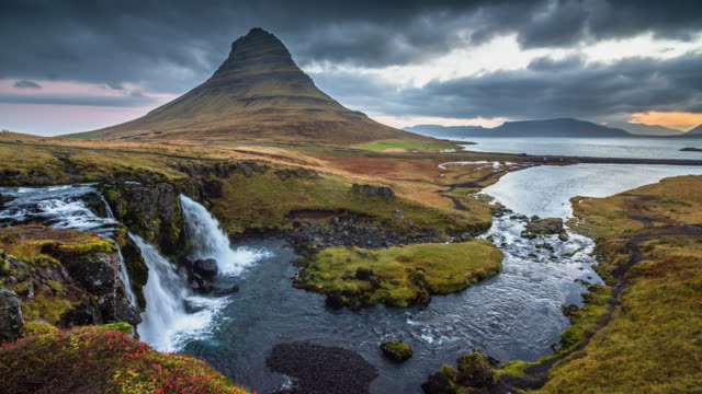 Kirkjufell Mountain and Waterfall in Iceland Landcape