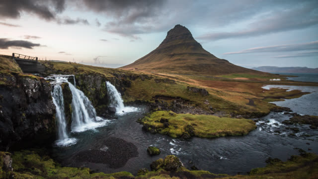 Kirkjufell Mountain and Waterfall in Iceland
